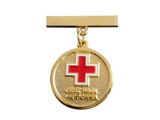 PIN MEDALLA CRUZ ROJA ORO BRILLANTE